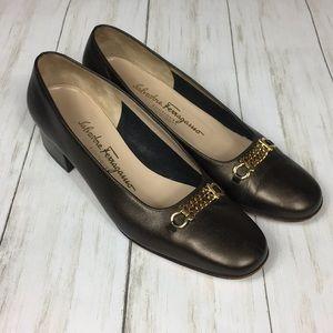 Salvatore Ferragamo Bronze Heels Size 7